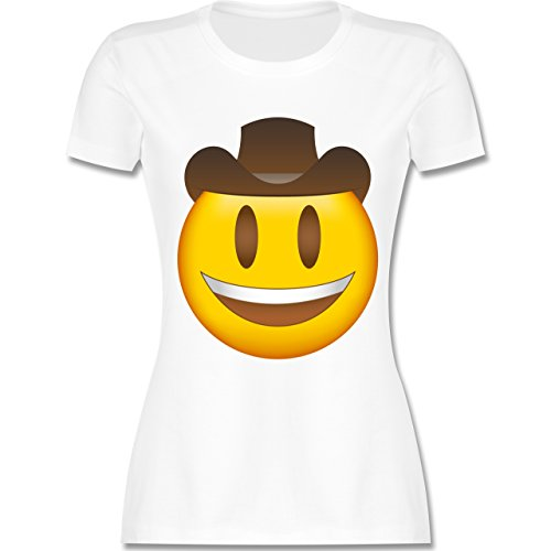 Shirtracer Comic Shirts - Emoji Cowboy-Hut - Damen T-Shirt Rundhals Weiß