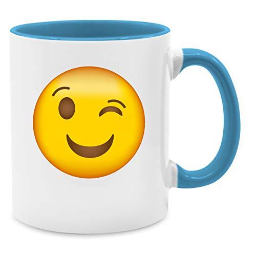 inker Emoji - Unisize - Hellblau - Q9061 - Kaffee-Tasse inkl. Geschenk-Verpackung ()