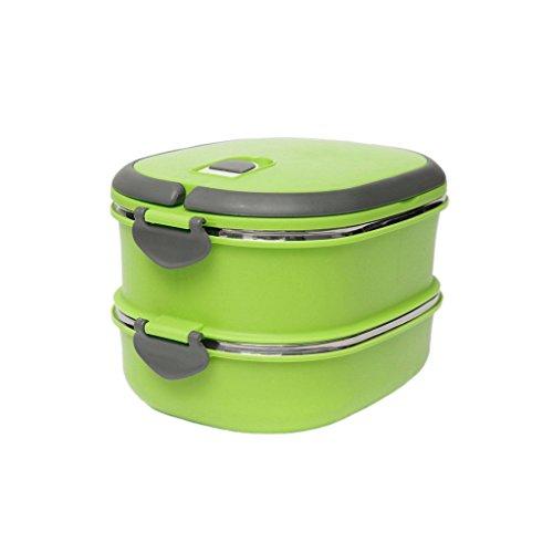 Generic 1-3 Schichten Design Edelstahl Thermobehälter Isoliert Lunch Box Brotdose - Grün, 2 Schichten