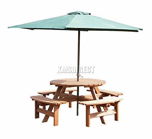 WestWood Garden Patio 8 Seater Wooden Pub Bench Round Picnic Table Outdoor Indoor Home Park furniture Brown New