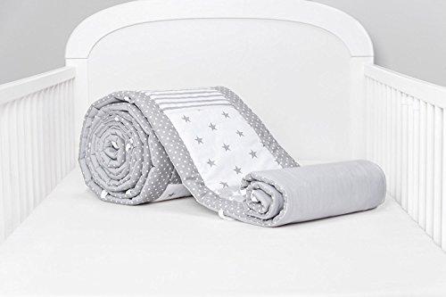 Amilian® Bettumrandung Nest Kopfschutz Nestchen 420x30cm, 360x30cm, 210x30cm, 180x30 cm Bettnestchen Baby Kantenschutz Bettausstattung MIX 14 (180cm (für das Babybett 120x60cm- Kopfschutz))