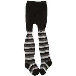 Medias estampadas con rayas o topos brillantes de elastano para bebés/niñas. (3-4 Años/Negro/Rayas Grises)