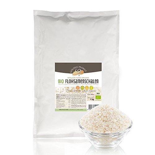 Bio Flohsamenschalen 99 prozentige Reinheit, Extra Weiß, Premium Qualität, höhste Quellzahl, getestet, allergenfrei, Glutenfrei, Vegan, keimreduziert, Low-Carb, 1000 g, 1 kg