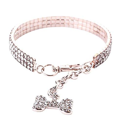 Oyedens Haustier Halsbandschmuck Halskette Hunde Katze Weiss Strass Glitzer mit Bones Anhänger Einstellbar Halsband 35cm (S, Silber)