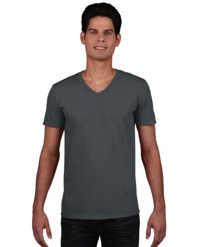 Gildan Herren Soft Style V-Neck T-Shirt Charcoal