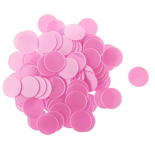 100pcs 32mm Chips Casino Jetons de Poker Jeu de Société Pièces Bricolage DIY Craft Coloré - Rose