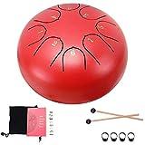 Konesky Steel Pan Steel Tongue Drum Tamburo a Percussione a Mano da 6 Pollici 8 Tune Etereo con Borsa per Il Trasporto, 2 Bacchette, Libretto di Esercitazione, 4 Scelte per le Dita, Rosso