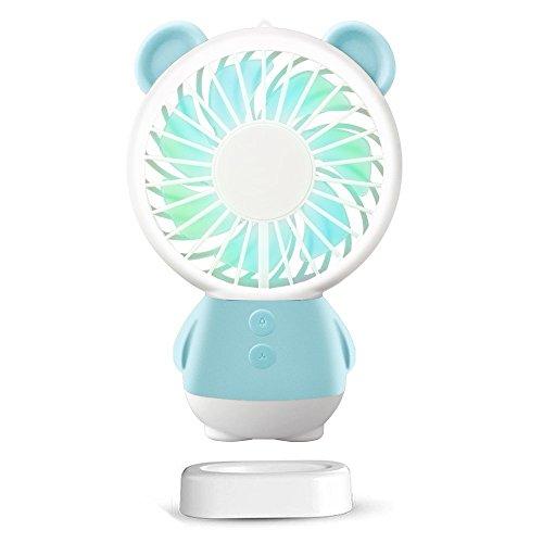 SUDOTACK Mini USB Fan, tragbare wiederaufladbare Handheld-Fan, Halskette und Tischventilator mit 2 Multi-Color-LED-Licht, einstellbare Geschwindigkeiten, Standfuß (Blau) (Handheld Mini Fan)