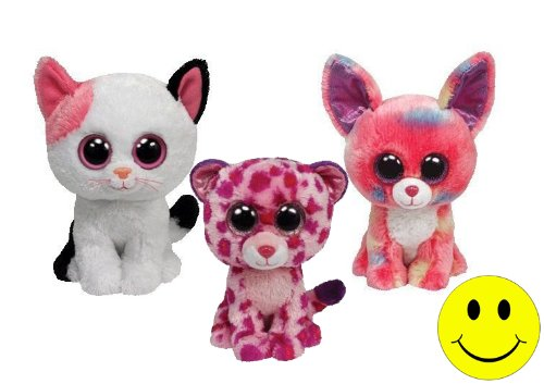 Ty Beanie Boos Muffin Cat - Cancun Chihuahua Dog - Glamour Pink Leopard set of 3 Plush (Monster Doll High Cat)