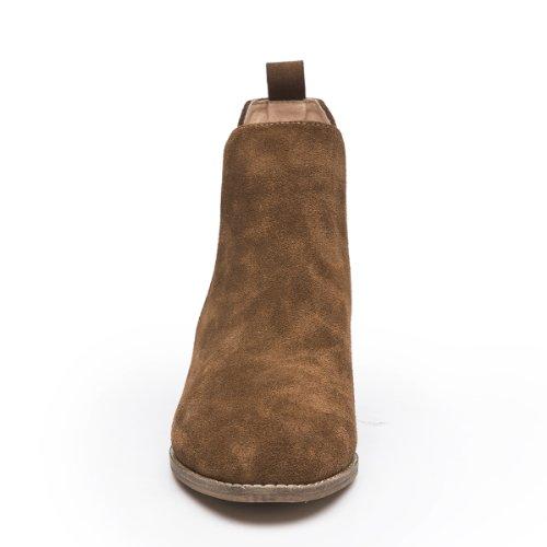 LiKing 02-006 Damen Chelsea Boots Echt Leder Braun