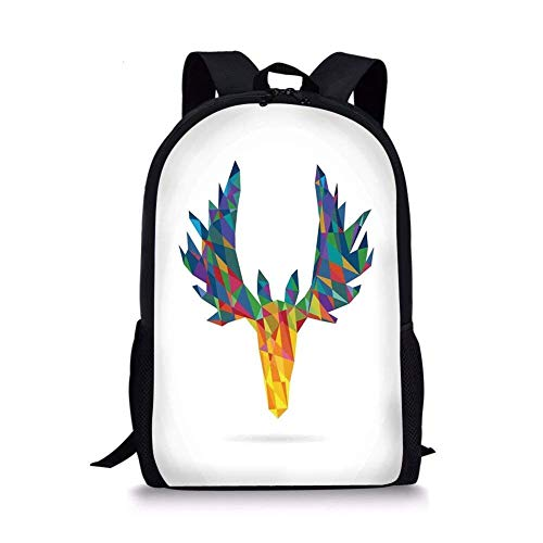 gthytjhv Antlers Decor,Deer Head Modern Design Trophy Geometric Glass Horn Wildlife Art, Boy Girl School Backpack Mens Womens Sports Bag