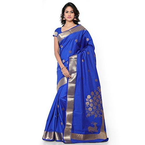 Varkala Silk Sarees Women's Art Silk Banarasi Saree With Blouse Piece(NYJB5002RB_Blue_Free Size)