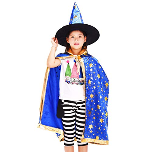 Creed Mädchen Cosplay Kostüm Assassin's - lixiaoxuty Umhang mit Kapuze für Kinder Bronzing Glitter Star Print Zauberer Hexenkostüm Halloween Umhänge mit spitzem Hut Kinder Cosplay Cape Party Requisiten