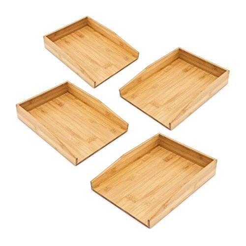 4x Briefablage Bambus im Set, Aktenablage für A4, Schreibtischorganizer, für Briefe und Dokumente, natur