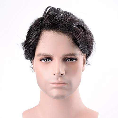 Lordhair Maenner Echthaar Perücke Men's Toupee Herren Toupet 1B20# Haarfarbe Grau 20% Grey hair Toupee for Men Hair Rplacement