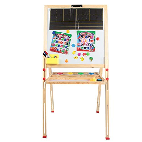 Kinder Staffelei, verstellbare Holz Staffelei Kinder magnetische White & Black Drawing Board Kids Art Supplies mit Magnetblöcken ()
