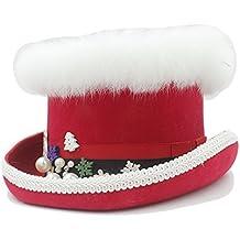 VAXT Sombrero de Copa Steampunk de Navidad con Rojo y Verde para Mujer  (Color   0bfcadaddb4