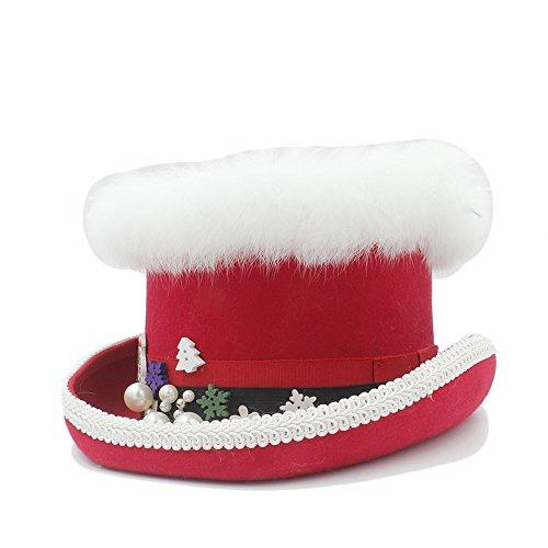 Extra Tall Kostüm - Sunny&Baby Weihnachten Top Hut für Frauen Wollfilz Caps Dekor mit Schneemann Pearls Bäume Muster Mode (Color : Red, Size : 57CM)