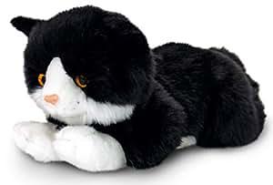 Plüschtier Katze schwarz - weiß Smudge, Keel Toys Kuscheltier liegend ca. 30 cm