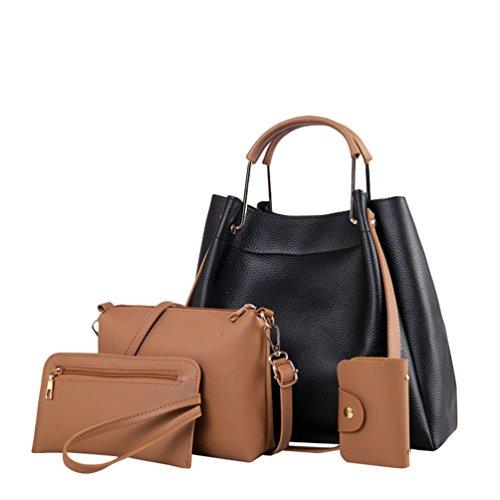 Anguang Damen Leder Handtaschen Set 4 teiliges Damen Handtaschenset Vintage Crossbody Tasche Handgelenktasche Schwarz 1