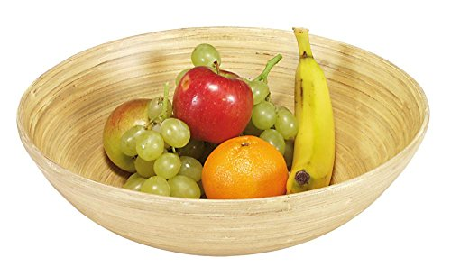 Kesper Obst-und Gebäckschale, Holzschale, Servierschale, aus Bambus, Höhe: 80 mm, Durchmesser: 250 mm, hell