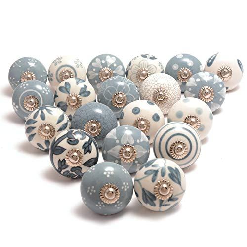 Hochwertige Keramik-Türgriffe - Verschiedene 20 Keramikknöpfe in Grau und Weiß, gemischte Designs, Schranktürknöpfe, Schubladengriffe von The Boho Street.