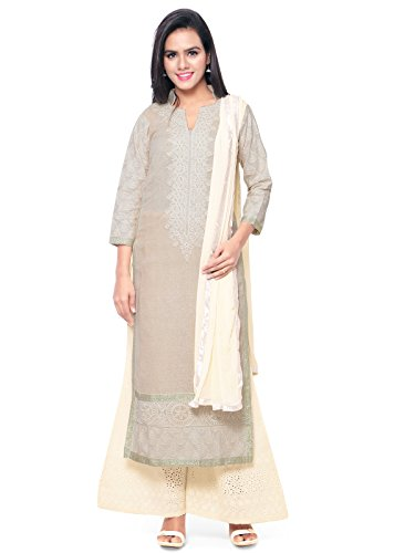 Kanchnar Women's Beige and Cream Jute Cotton Embroidered Party Wear Dress Material...