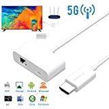 Adaptateur d'Affichage sans fil, Mbuynow 5G/2.4G WiFi Display Dongle HDMI 1080P Support Miroir Lien et Écran de Extension Pour PC/Android/iOS/Windows/Mac Dongle de Steam Affichage Plug et Jouer