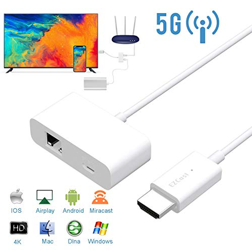 WiFi Display Dongle, EZCast 2.4G / 5G Wireless HDMI Adapter 1080P TV Stick Streaming Dongle für Android/iOS/Windows/Mac OS, Keine Einstellung erforderlich, Unterstützung für Home App Cast