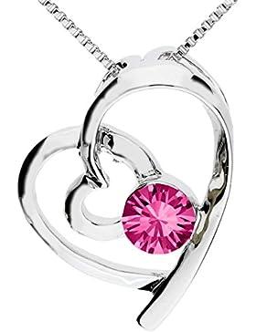 MYA art Kette Halskette Herzketten Doppel Herz Anhänger mit Swarovski Elements Kristall Strass Stein Silber Rosa...