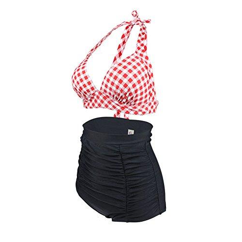 ERWAA Damen Bikini Set Badeanzug Bademode Bauchweg Vintage Hohe Taillen Neckholder Karierter Schwimmanzug für Frauen Strand Schwimmen Wassersport Schwarz Rot D