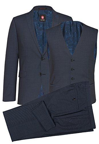 CG - Club of Gents Herren Dreiteiler Business-Anzug CG Collin 81-013S1-62 blau,Größe 52