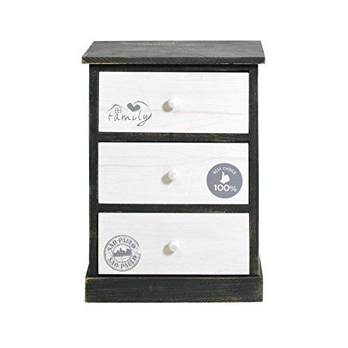 Rebecca mobili comodino cassettiera 3 cassetti legno paulownia bianco grigio vintage camera bagno (cod. re4330)