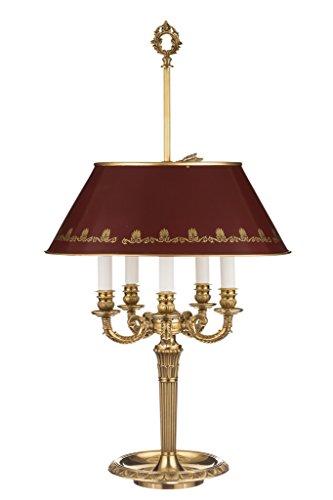 Il Bronzetto 4-flammige Bouillotte-Lampe, französischer Stil, dunkelroter Schirm, höhenverstellbar, handbemalt