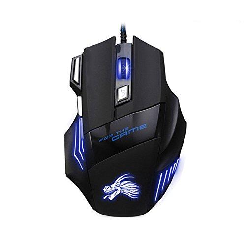 Taslar(TM) 5500 DPI 7 Button LED Optical USB Wired Gaming Mouse 7 LED Colours for Pro Gamer – Black 41ODIX68GeL