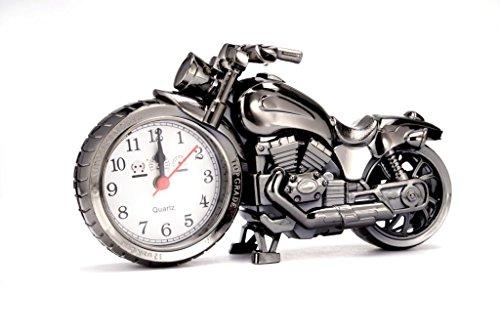 Motorrad-Wecker von Psfy, luxuriöser Retro-Stil, für Regal, als Dekoration, aus Kunststoff und Quarz-Material, 1x AA Batterie, geeignet als Geschenk für Kinder und Liebhaber von Motor
