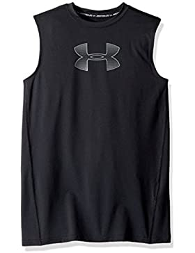 Under Armour - Camiseta sin Mangas para niño, Niños, 1289956-002, Negro/Gris, Youth Medium