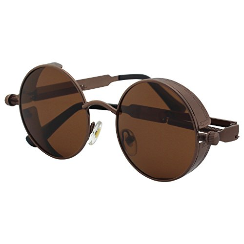 CGID E72 Retro Steampunk Style Inspired Round Metal Circle Polarized Sunglasses for Men and Women steampunk buy now online