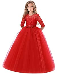 feiXIANG Ragazze Principessa Vestito Costume Abito da Cerimonia Nuziale con  Fiocco Ricamato Abito Natale Bambina Abiti 6d51d5b9cb8