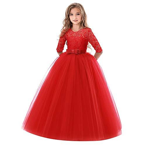 feiXIANG Ragazze Principessa Vestito Costume Abito da Cerimonia Nuziale con Fiocco Ricamato Abito Natale Bambina Abiti Eleganti Bambina Partito Vestiti Ragazza Eleganti Gonna Rossa Bambina