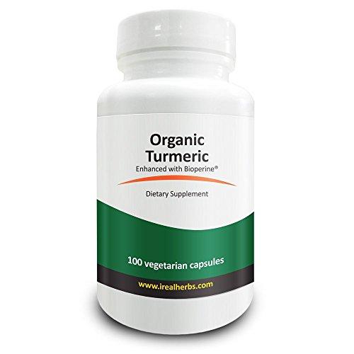 Real Herbs Organische Kurkuma Gelbwurz 745mgBioPerine® (5 mg) - natürliche entzündungshemmende und Antioxidans Kraut - 100 vegetarische Kapseln