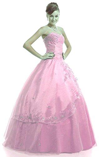 Vantexi Frauen Trägerlosen Formal Abendkleid Ballkleid Rosa