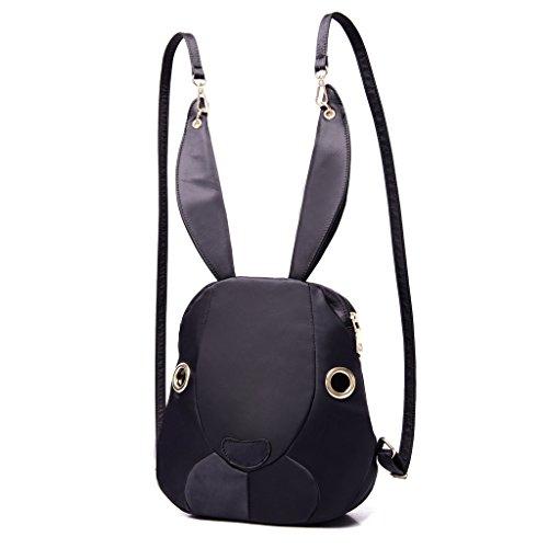 Minetom Forme De Lapin Mini Toile Sac À Dos Loisir Multi-Fonction Voyages Scolaire Backpack Femme Noir