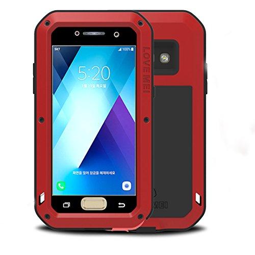 Samsung Galaxy A5 2017 Custodie, Love Mei Potente Cover Alluminio Metal Armor con Gorilla Glass vetro protettiva contro per Samsung Galaxy A5 2017 Version A520 (rosso)