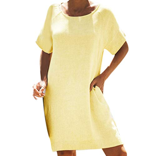 TITIU Damen Plus Size Unregelmäßige Mode Lose Leinen Kurzarm Shirt Vintage Bluse Tank Tee Oberteil Top(Gelb,M) -