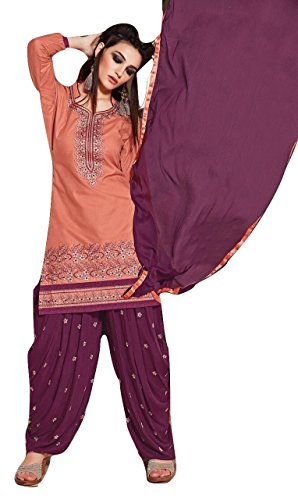 Shalibhadra light pink color top with purple color duppata and purple color salwar cotton unstitched fully heavy Embroidered work patiala suit pataliya dress material for women