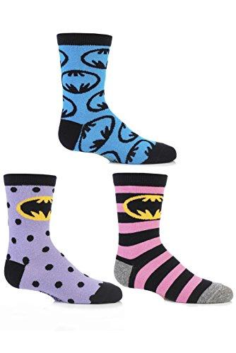 Paar Batman-Streifen-Spots und in der ganzen Motivsocken aus Baumwolle von 12,5 bis 5,5 Kinder One Size Multi (Batgirl Socken)