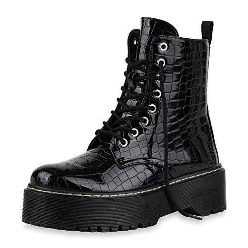 SCARPE VITA Damen Plateau Stiefeletten Worker Boots Leder-Optik Schuhe Profilsohle Stiefel Grunge Punk Plateauschuhe Schnürer 177156 Schwarz Lack Kroko 39