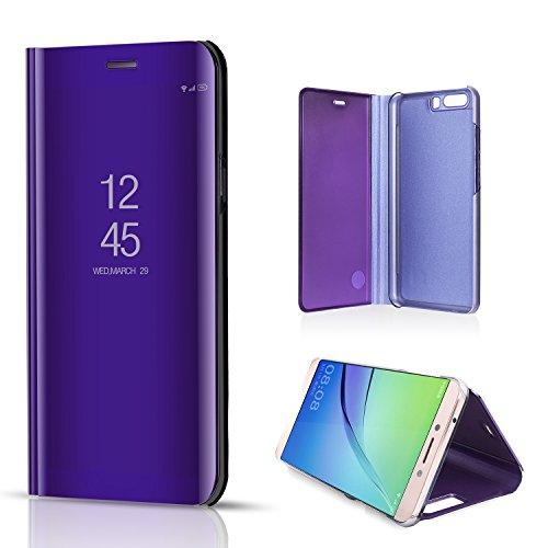 Preisvergleich Produktbild Sycode Luxus Screen Protector Lila Slim Fit Clear Standing View Spiegel Hülle Beirftasche für Huawei P10-Lila Mirror