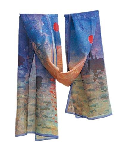 Prettystern P133 - 160 centimetri pittura Impression Stampa artistica Sciarpa di seta - Claude Monet - Alba (Sunrise)